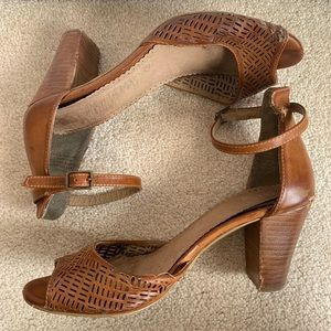 Restricted Shoes - Restricted Brown Leather Perforated Peep Toe Heels
